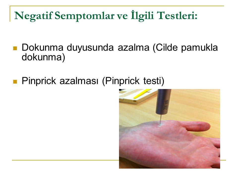 Negatif Semptomlar ve İlgili Testleri: