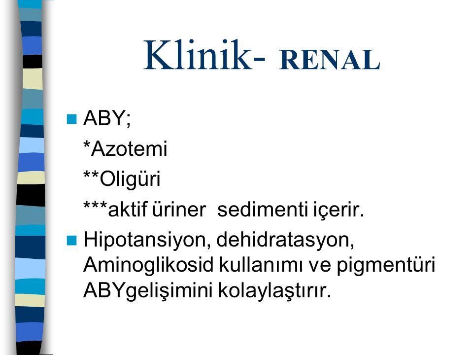 Klinik- RENAL ABY; *Azotemi **Oligüri