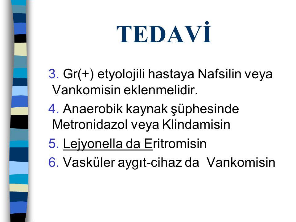TEDAVİ 3. Gr(+) etyolojili hastaya Nafsilin veya Vankomisin eklenmelidir. 4. Anaerobik kaynak şüphesinde Metronidazol veya Klindamisin.