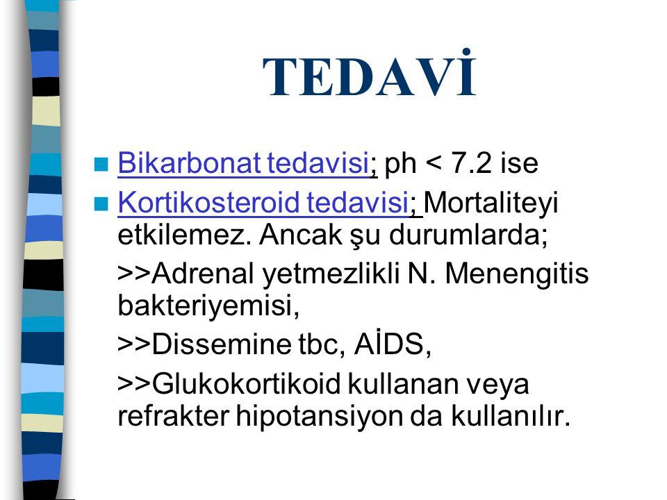 TEDAVİ Bikarbonat tedavisi; ph < 7.2 ise