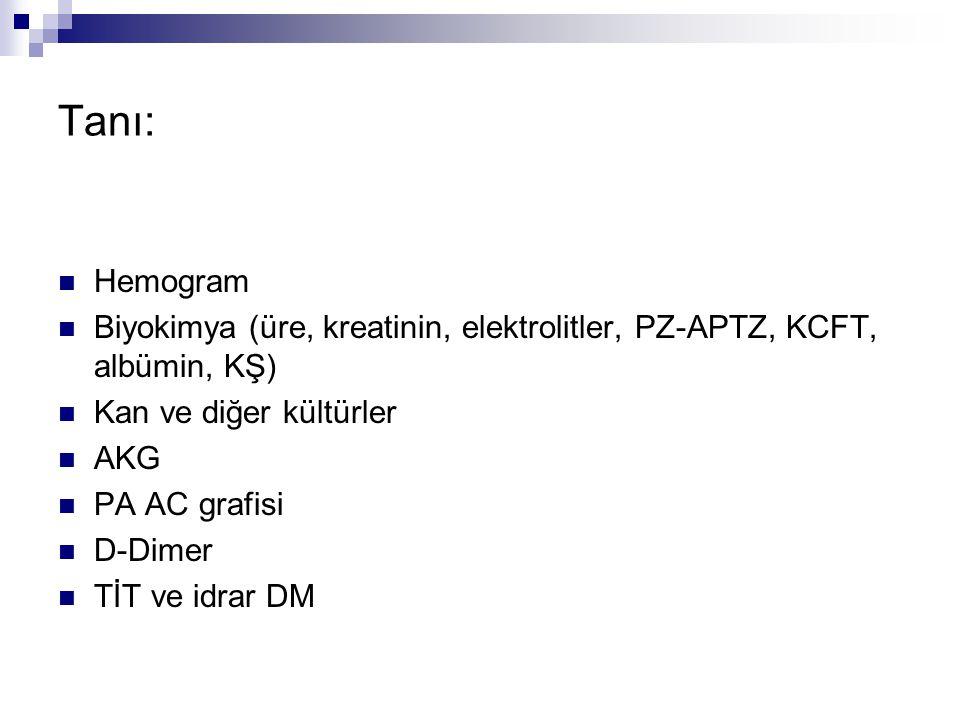 Tanı: Hemogram. Biyokimya (üre, kreatinin, elektrolitler, PZ-APTZ, KCFT, albümin, KŞ) Kan ve diğer kültürler.