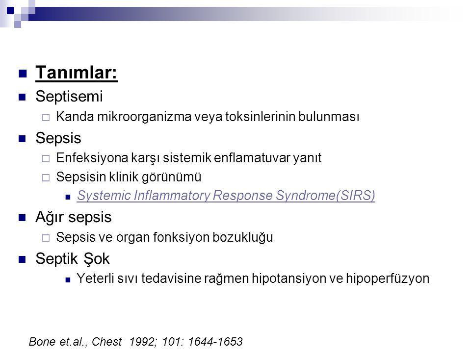 Tanımlar: Septisemi Sepsis Ağır sepsis Septik Şok
