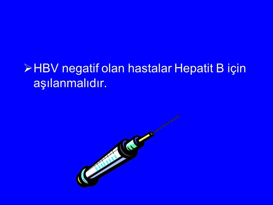 HBV negatif olan hastalar Hepatit B için aşılanmalıdır.