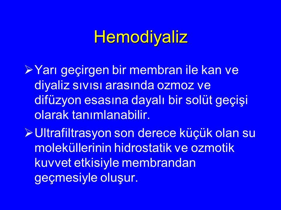 Hemodiyaliz Yarı geçirgen bir membran ile kan ve diyaliz sıvısı arasında ozmoz ve difüzyon esasına dayalı bir solüt geçişi olarak tanımlanabilir.
