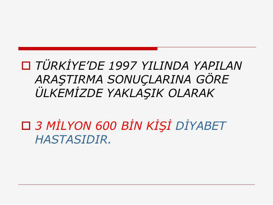 TÜRKİYE'DE 1997 YILINDA YAPILAN ARAŞTIRMA SONUÇLARINA GÖRE ÜLKEMİZDE YAKLAŞIK OLARAK