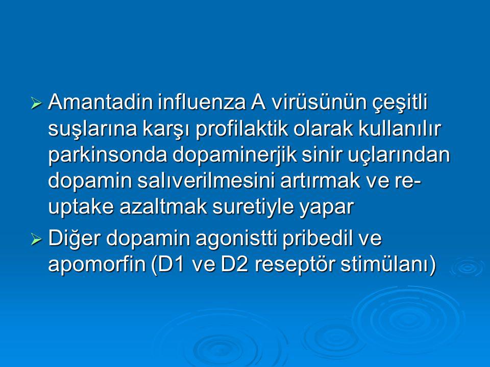Amantadin influenza A virüsünün çeşitli suşlarına karşı profilaktik olarak kullanılır parkinsonda dopaminerjik sinir uçlarından dopamin salıverilmesini artırmak ve re-uptake azaltmak suretiyle yapar
