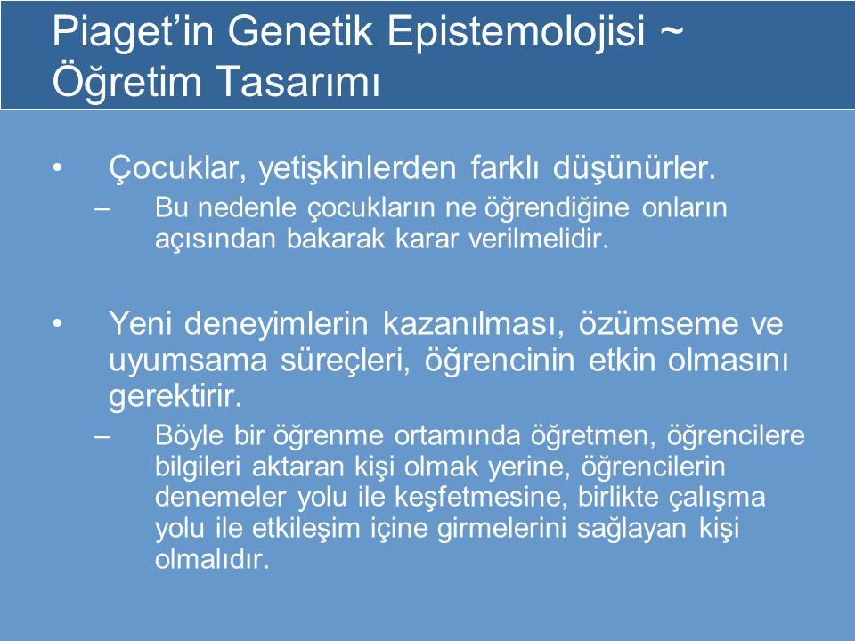 Piaget'in Genetik Epistemolojisi ~ Öğretim Tasarımı
