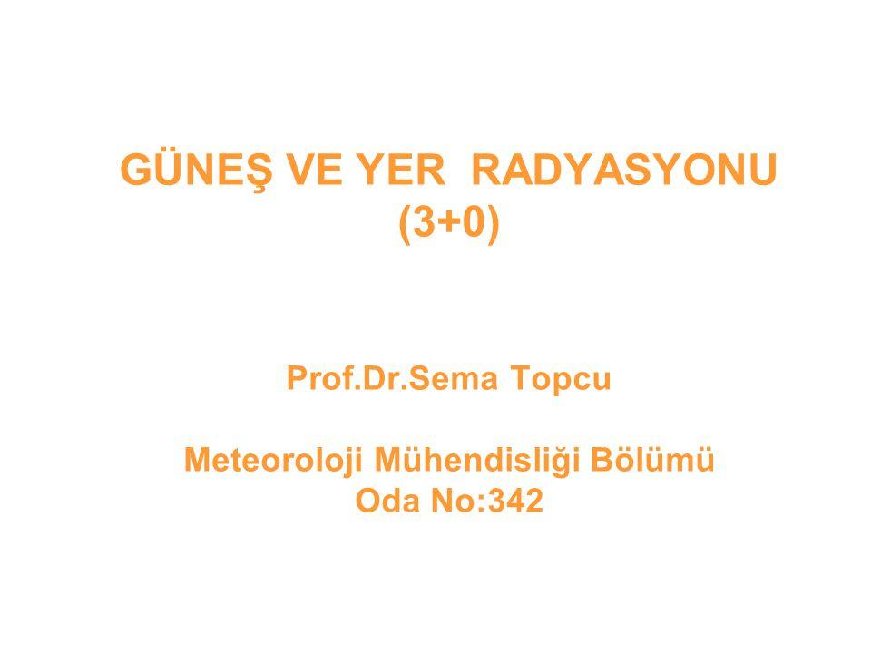 GÜNEŞ VE YER RADYASYONU (3+0) Prof. Dr