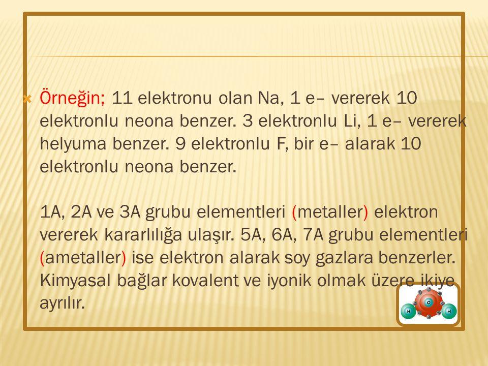 Örneğin; 11 elektronu olan Na, 1 e– vererek 10 elektronlu neona benzer