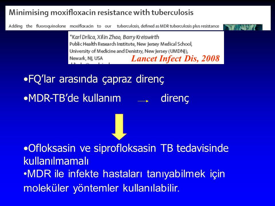 FQ'lar arasında çapraz direnç MDR-TB'de kullanım direnç