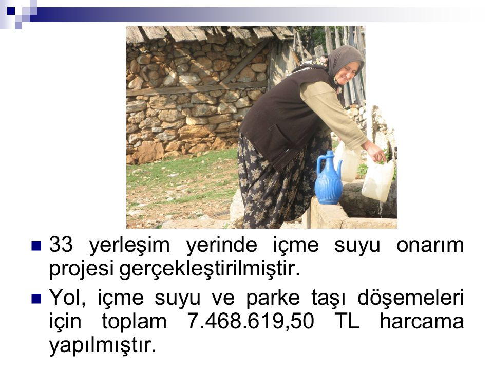 33 yerleşim yerinde içme suyu onarım projesi gerçekleştirilmiştir.