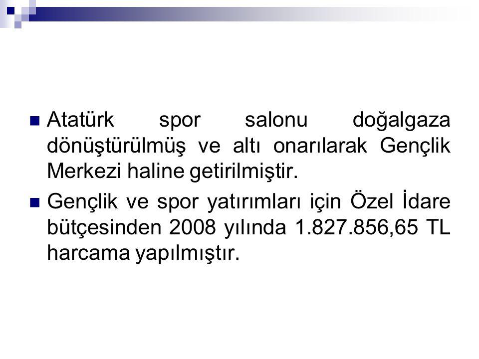 Atatürk spor salonu doğalgaza dönüştürülmüş ve altı onarılarak Gençlik Merkezi haline getirilmiştir.
