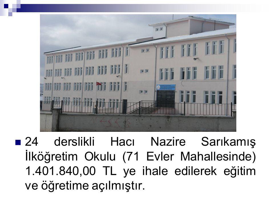 24 derslikli Hacı Nazire Sarıkamış İlköğretim Okulu (71 Evler Mahallesinde) 1.401.840,00 TL ye ihale edilerek eğitim ve öğretime açılmıştır.