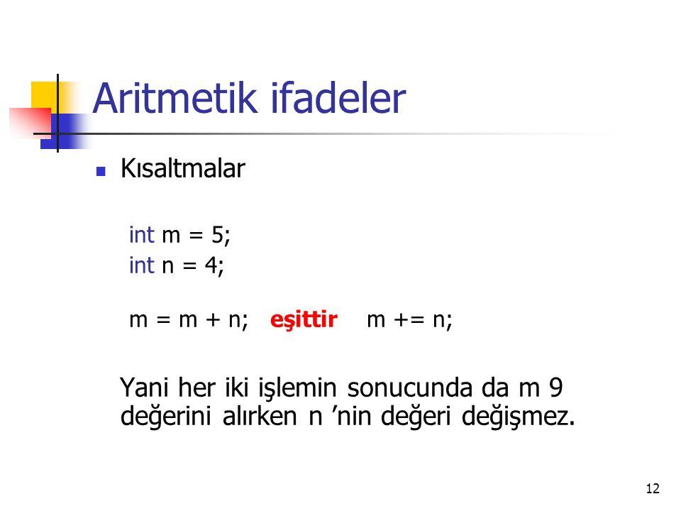 Aritmetik ifadeler Kısaltmalar