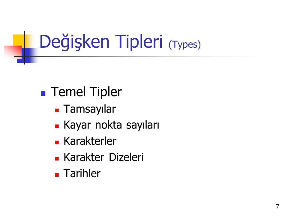 Değişken Tipleri (Types)