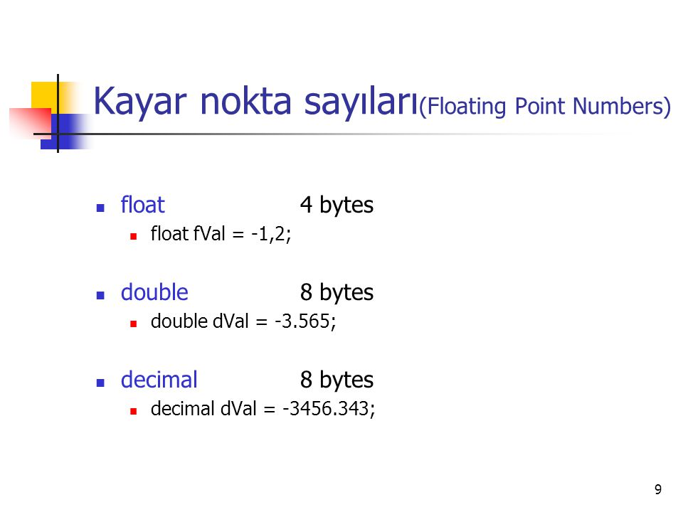 Kayar nokta sayıları(Floating Point Numbers)