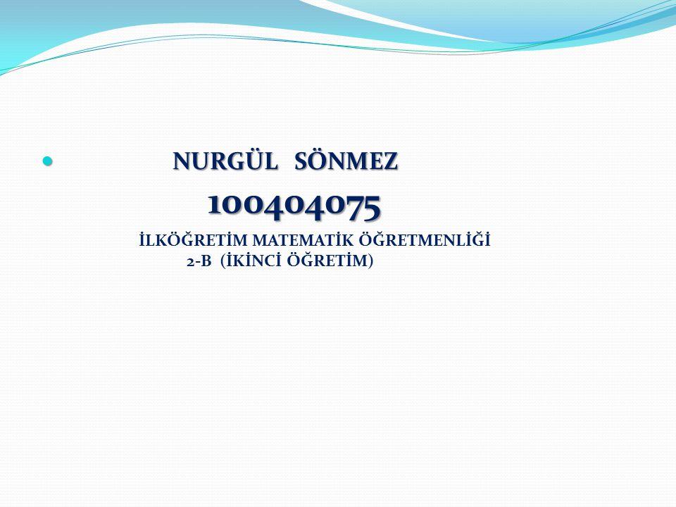 100404075 NURGÜL SÖNMEZ İLKÖĞRETİM MATEMATİK ÖĞRETMENLİĞİ