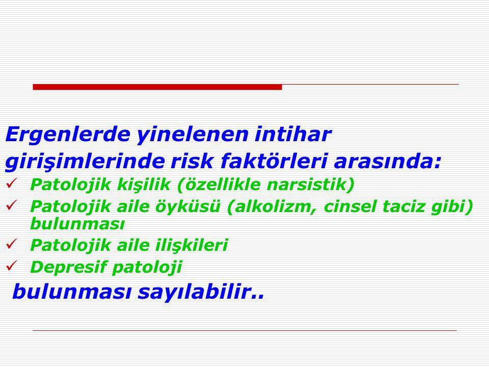 Ergenlerde yinelenen intihar girişimlerinde risk faktörleri arasında: