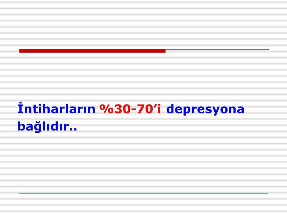 İntiharların %30-70'i depresyona