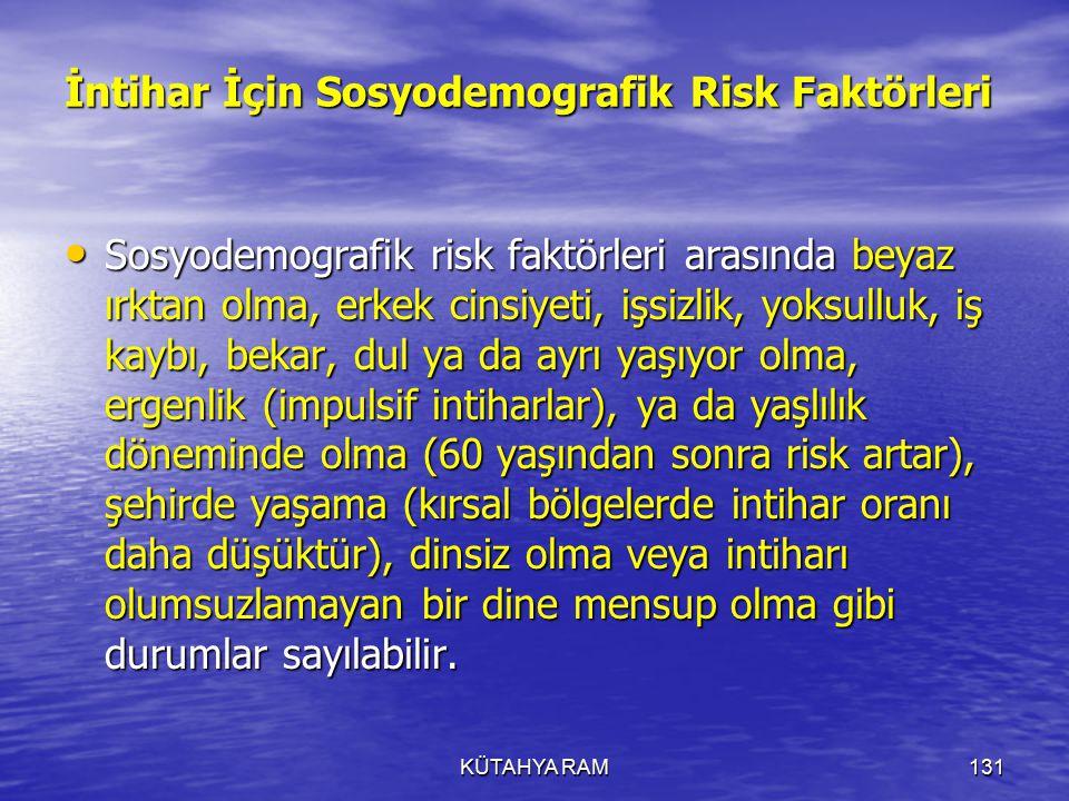 İntihar İçin Sosyodemografik Risk Faktörleri