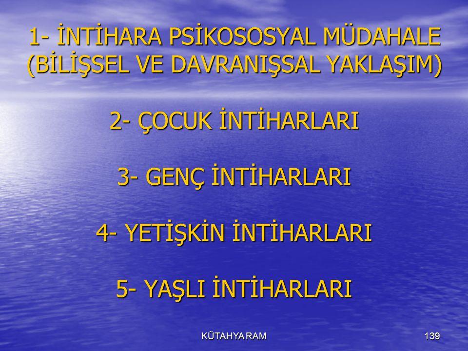1- İNTİHARA PSİKOSOSYAL MÜDAHALE (BİLİŞSEL VE DAVRANIŞSAL YAKLAŞIM) 2- ÇOCUK İNTİHARLARI 3- GENÇ İNTİHARLARI 4- YETİŞKİN İNTİHARLARI 5- YAŞLI İNTİHARLARI