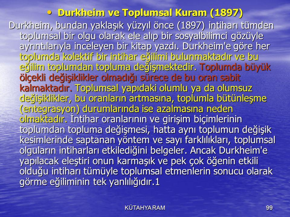 Durkheim ve Toplumsal Kuram (1897)