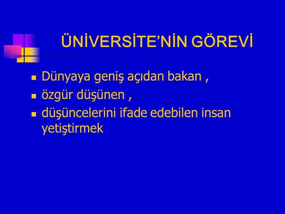 ÜNİVERSİTE'NİN GÖREVİ