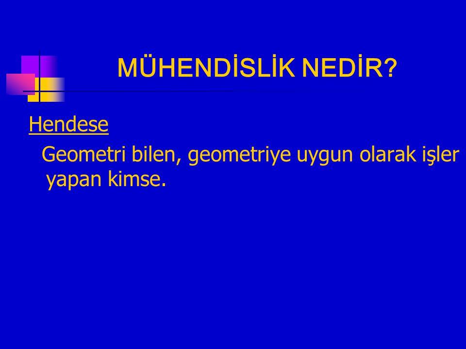 MÜHENDİSLİK NEDİR Hendese