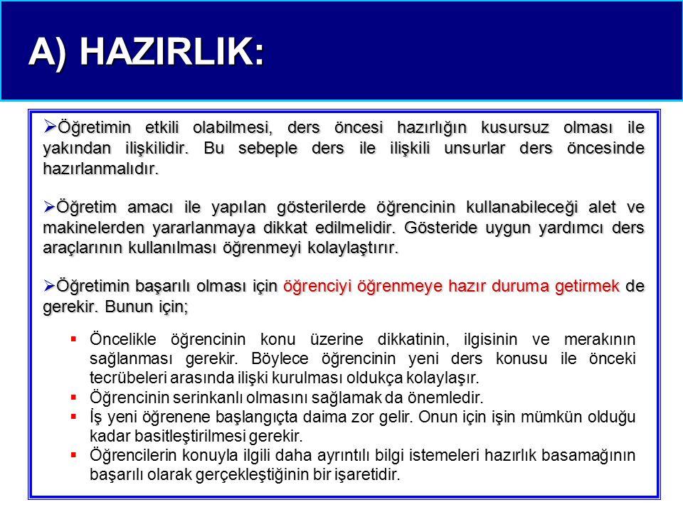 A) HAZIRLIK: