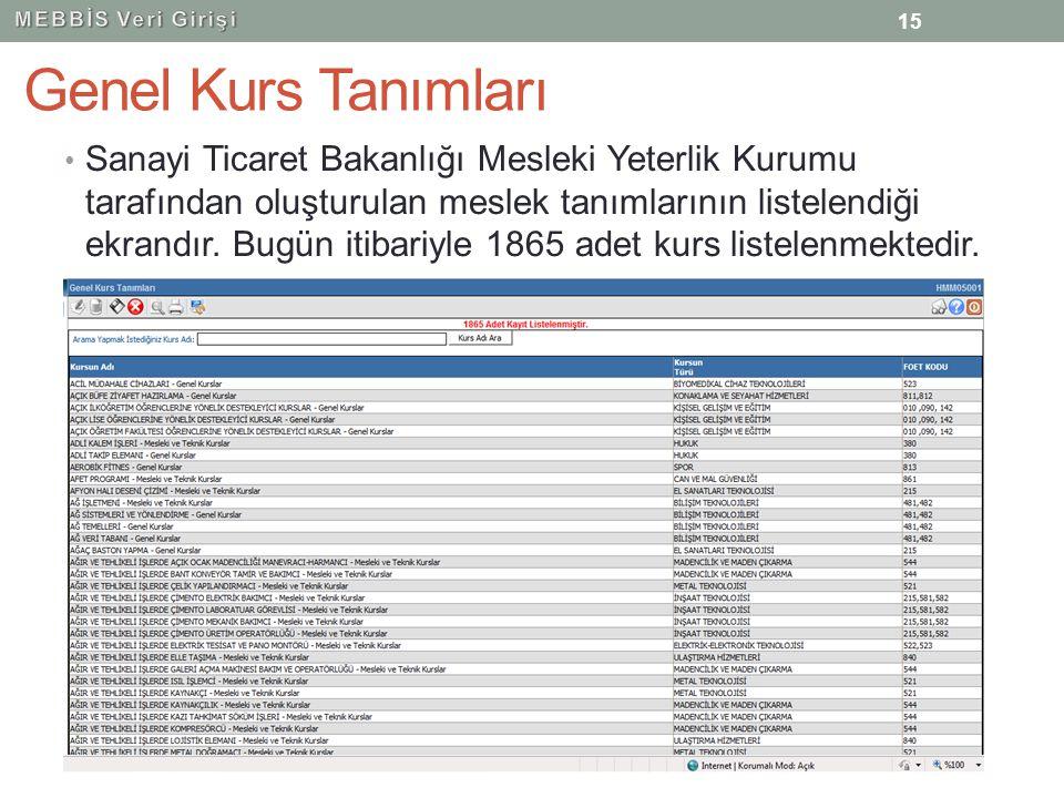 MEBBİS Veri Girişi Genel Kurs Tanımları.