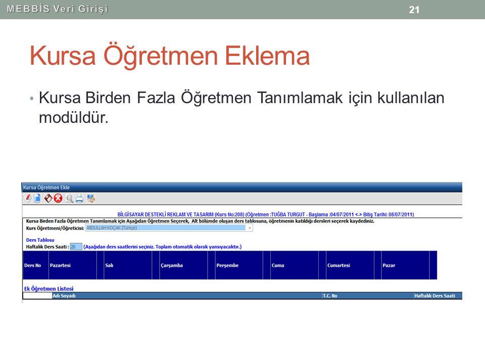 MEBBİS Veri Girişi Kursa Öğretmen Eklema.