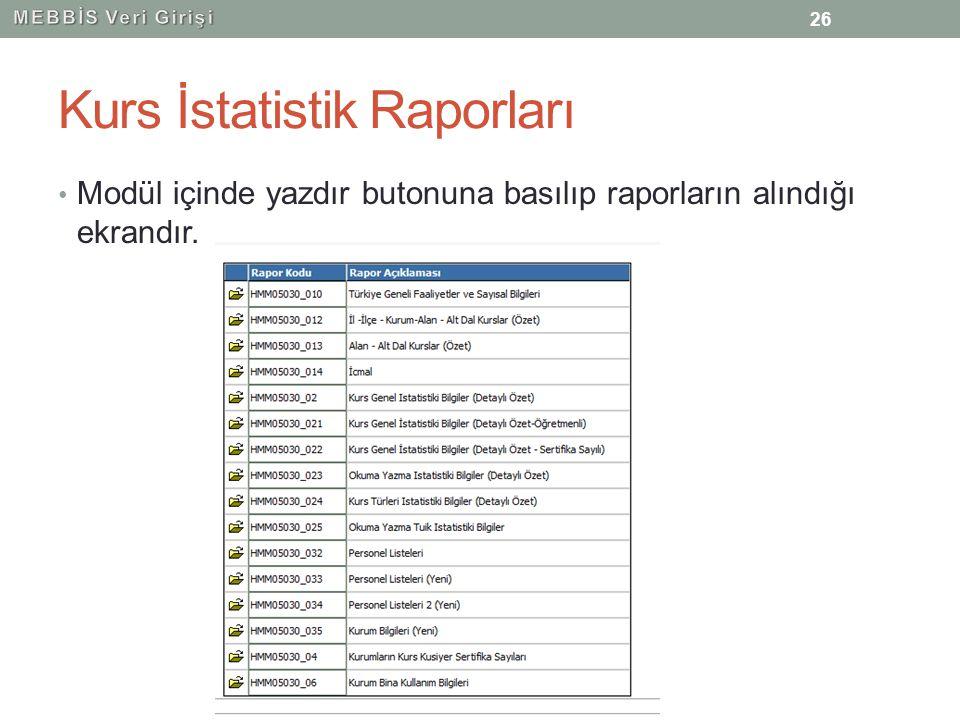Kurs İstatistik Raporları