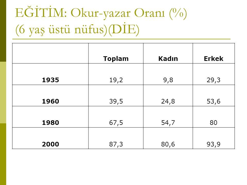 EĞİTİM: Okur-yazar Oranı (%) (6 yaş üstü nüfus)(DİE)