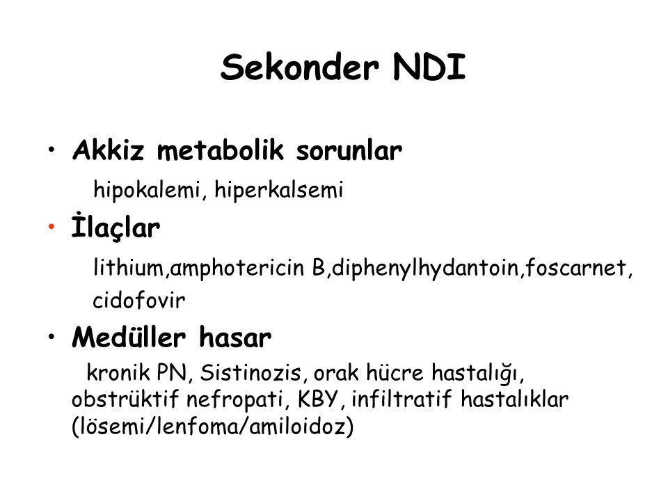 Sekonder NDI Akkiz metabolik sorunlar İlaçlar Medüller hasar