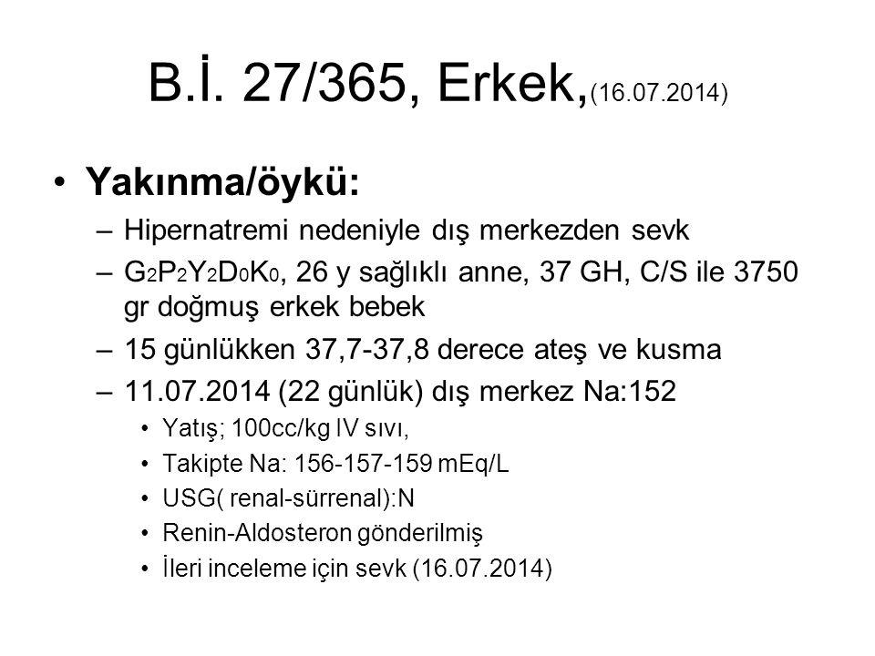 B.İ. 27/365, Erkek,(16.07.2014) Yakınma/öykü: