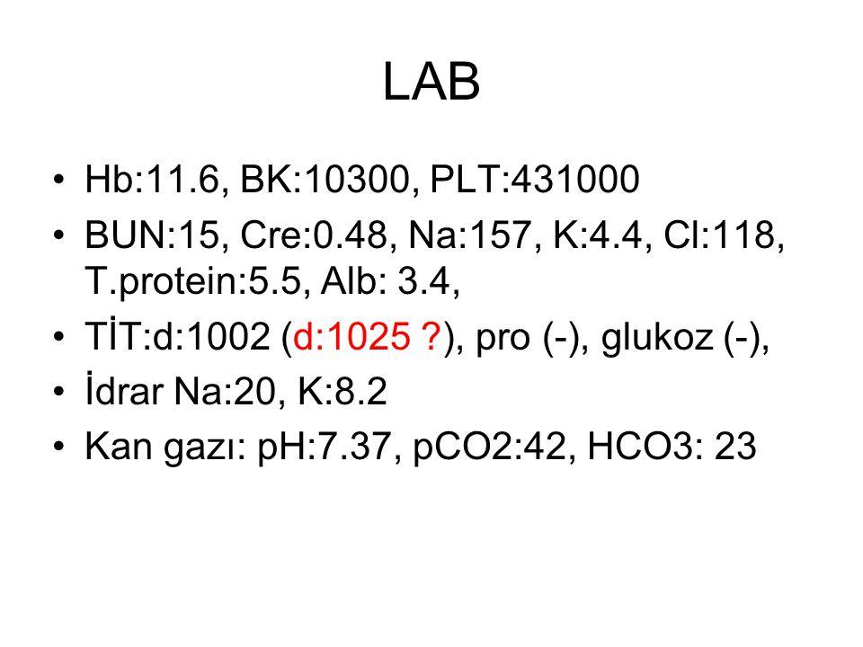LAB Hb:11.6, BK:10300, PLT:431000. BUN:15, Cre:0.48, Na:157, K:4.4, Cl:118, T.protein:5.5, Alb: 3.4,