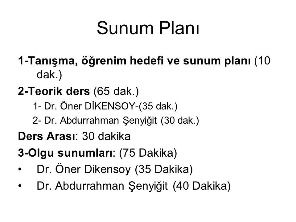 Sunum Planı 1-Tanışma, öğrenim hedefi ve sunum planı (10 dak.)
