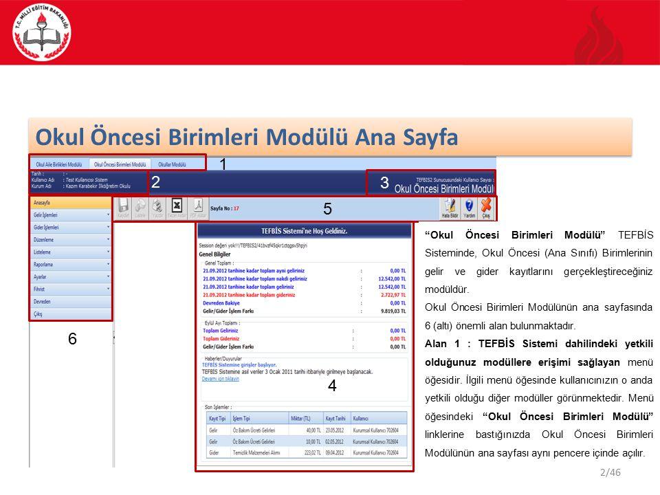 Okul Öncesi Birimleri Modülü Ana Sayfa