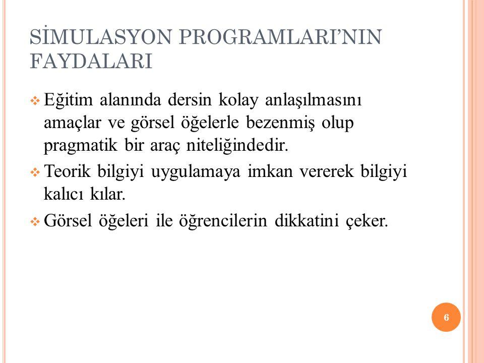 SİMULASYON PROGRAMLARI'NIN FAYDALARI