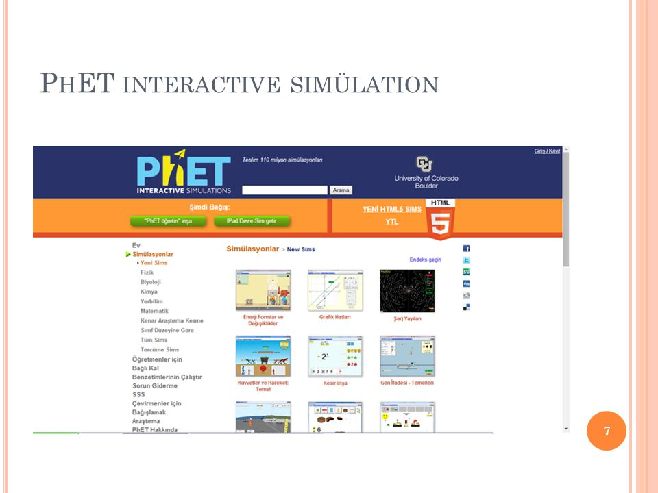 PhET interactive simülation
