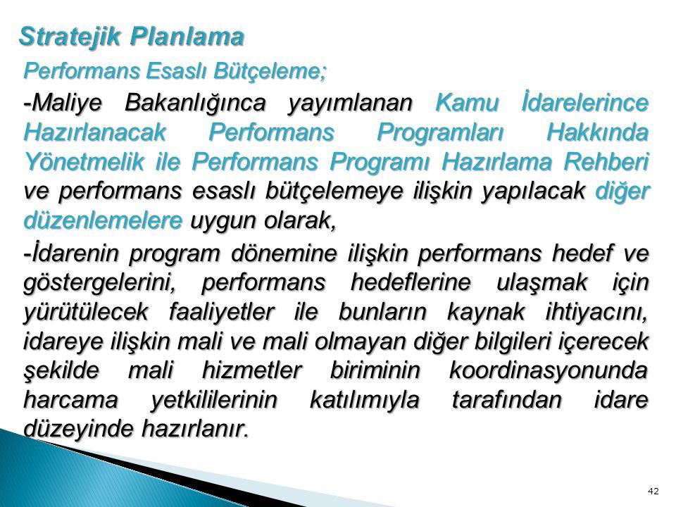 Stratejik Planlama Performans Esaslı Bütçeleme;