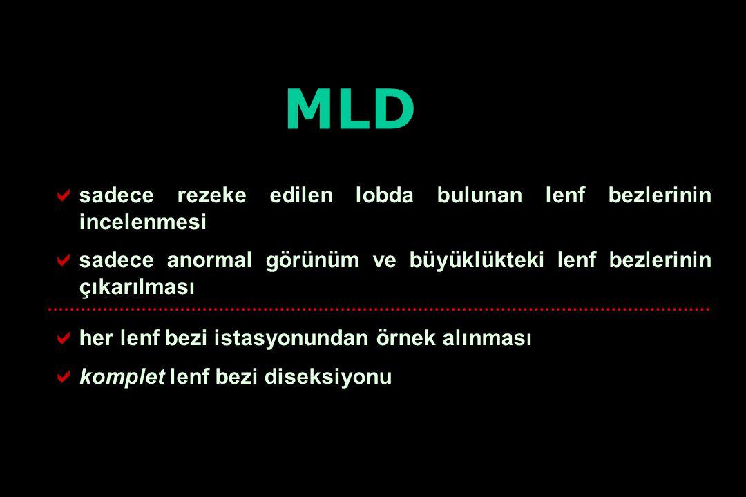MLD sadece rezeke edilen lobda bulunan lenf bezlerinin incelenmesi