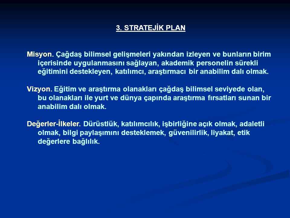 3. STRATEJİK PLAN
