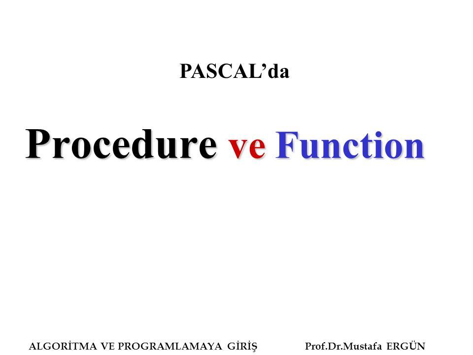 Procedure ve Function PASCAL'da