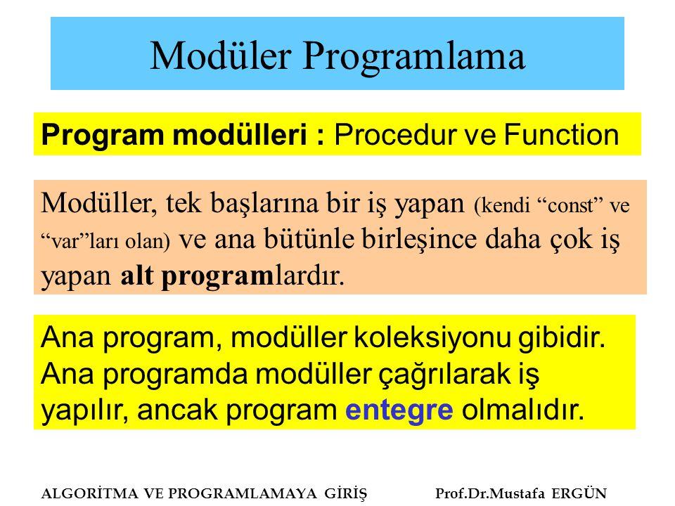 Modüler Programlama Program modülleri : Procedur ve Function