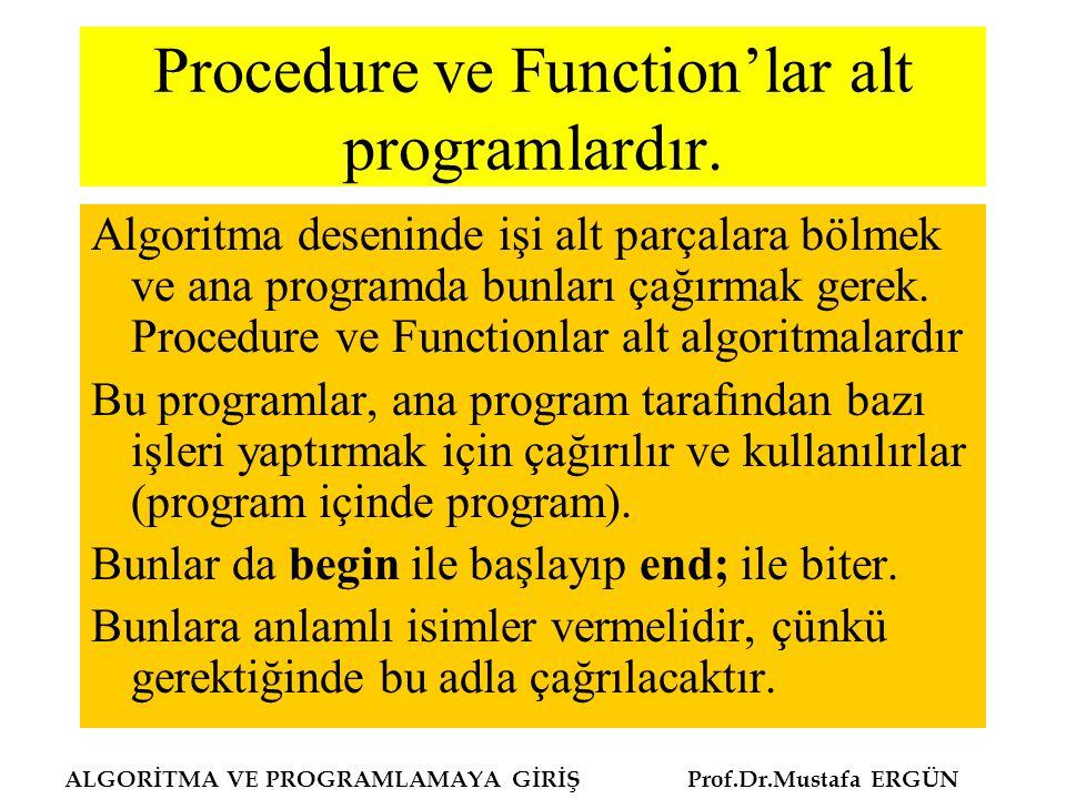 Procedure ve Function'lar alt programlardır.