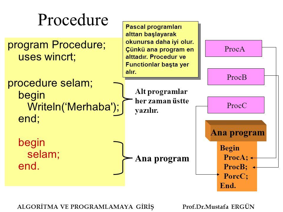 Procedure program Procedure; uses wincrt;