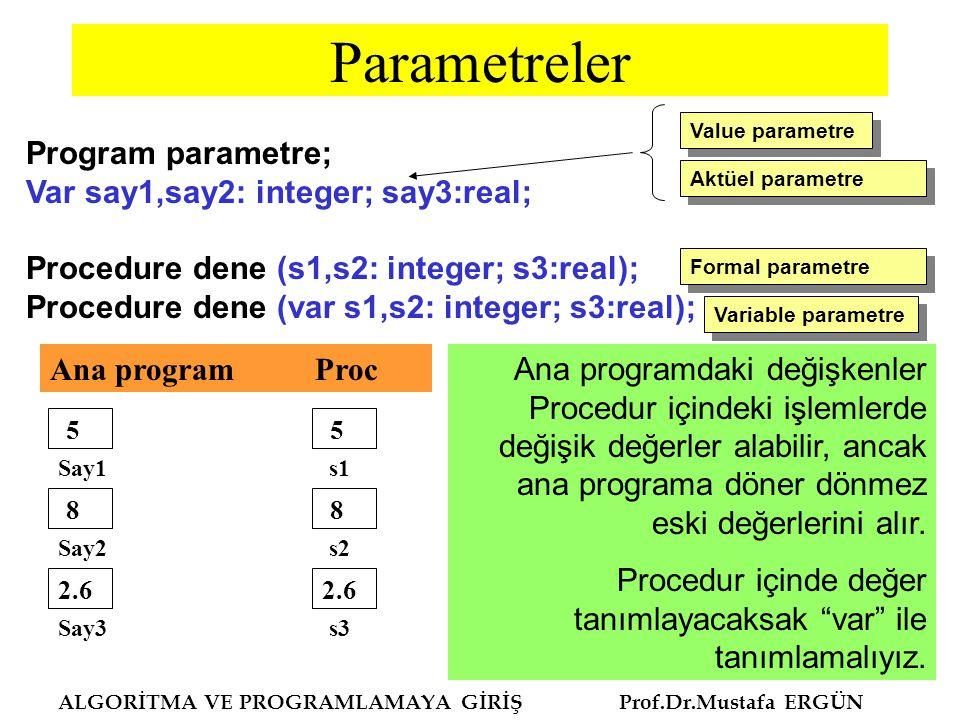 Parametreler Program parametre; Var say1,say2: integer; say3:real;