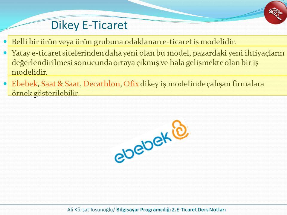Dikey E-Ticaret Belli bir ürün veya ürün grubuna odaklanan e-ticaret iş modelidir.