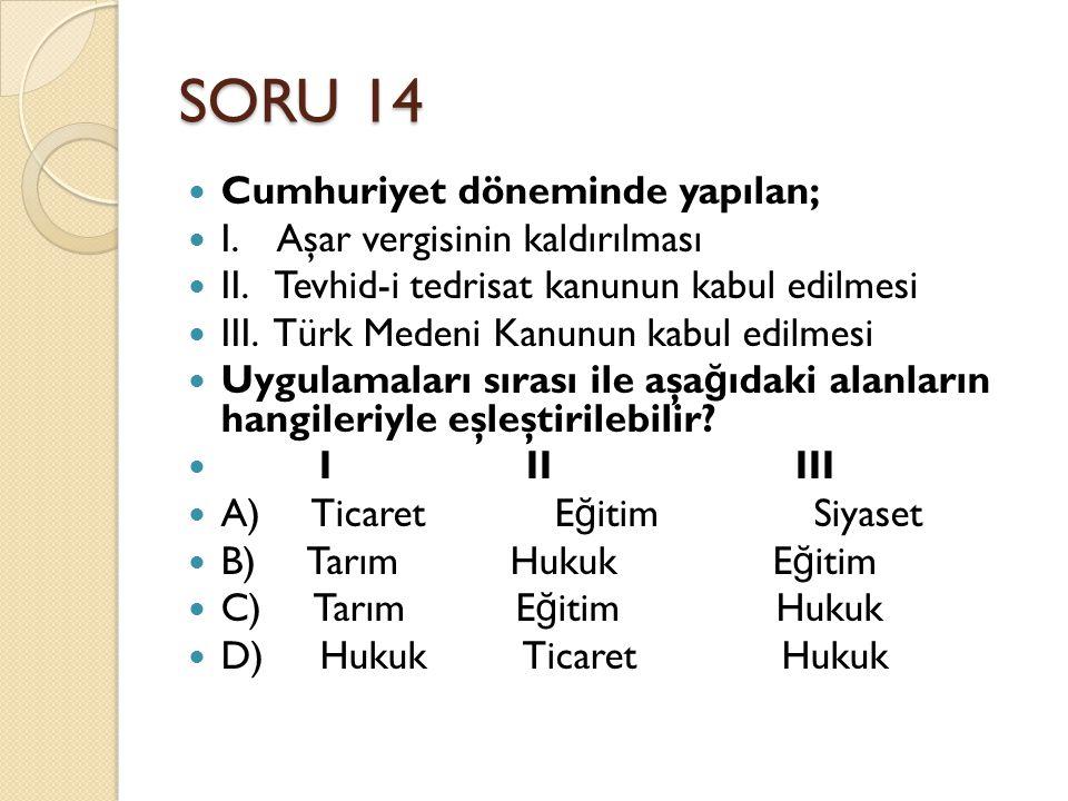 SORU 14 Cumhuriyet döneminde yapılan; I. Aşar vergisinin kaldırılması